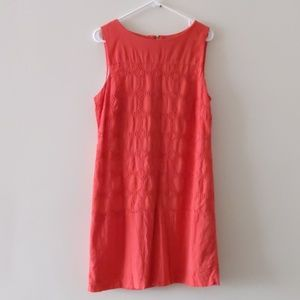 Lands end Shift Dress Sleeveless Zip up Back Coral